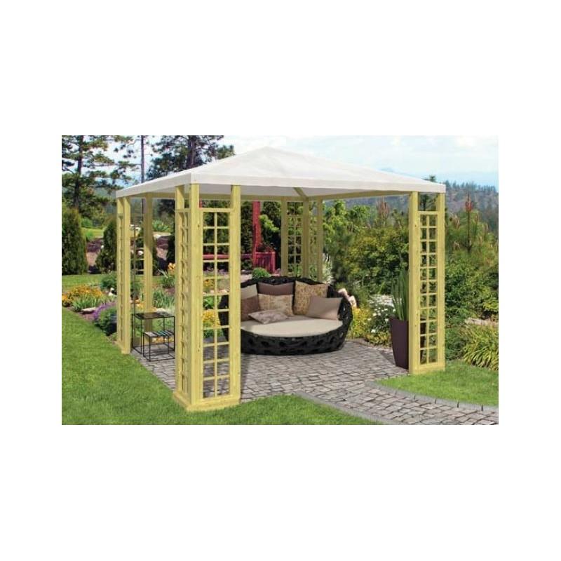 Kiosque pavillon de jardin en bois et toile 9m2 for Pavillon jardin bois