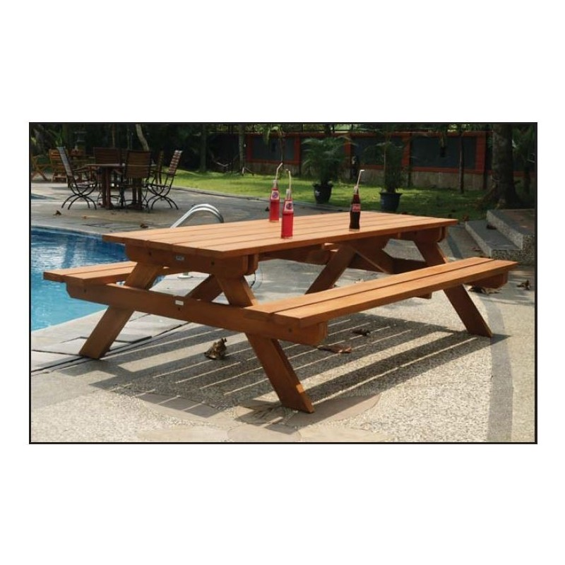 grande table de picnic en bois impr gn d 39 huile 260x150cm plateau 4 5. Black Bedroom Furniture Sets. Home Design Ideas