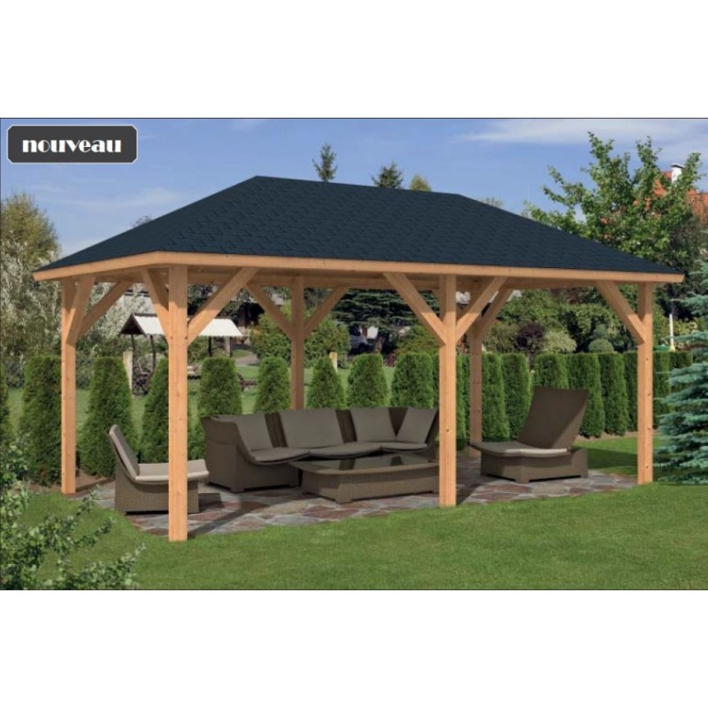 Pavillon kiosque de jardin abri spa 20m2 bois m l ze - Kiosque de jardin en bois pas cher ...