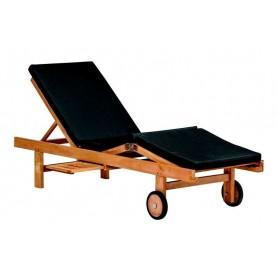 Chaise longue de jardin ou plage en teck WEMBLEY