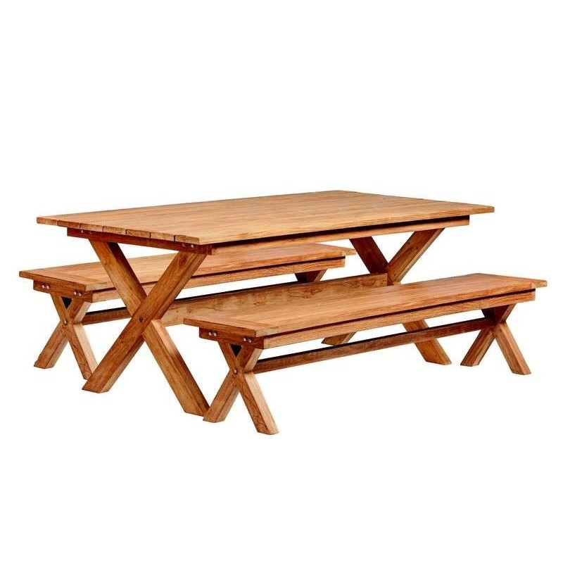 Table de pique-nique Ronde en bois dur TUINDECO
