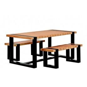 Ensemble table et bancs de jardin en teck acier noir TUINDECO