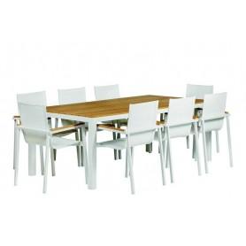 Luxueux ensemble table et chaises Memphis en aluminium blanc