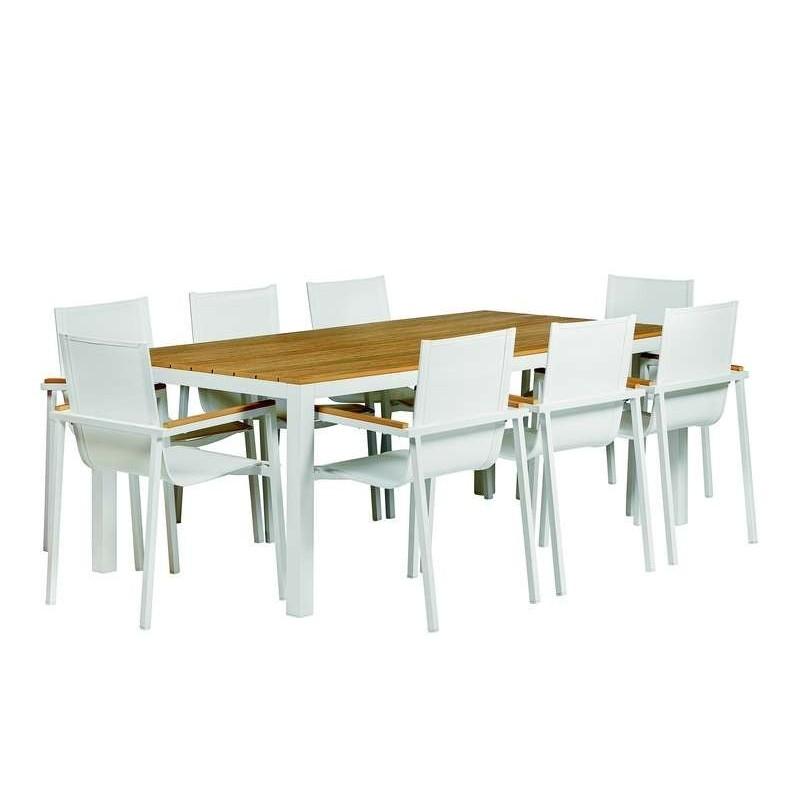 Luxueux ensemble table et chaises Memphis en aluminium blanc TUINDECO