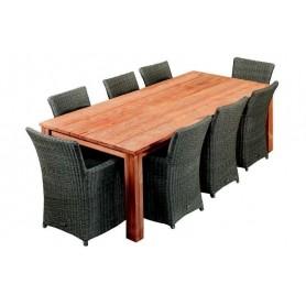 Table de jardin en teck 300cm Rustique, aspect vieilli TUINDECO