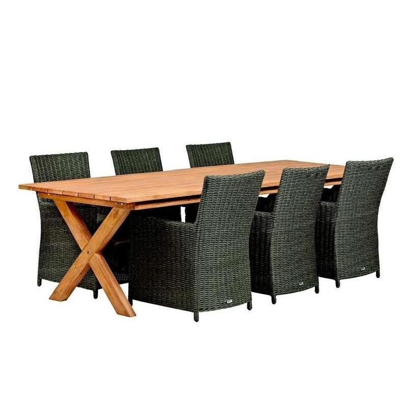 Table de jardin en teck 250cm Rustique avec pieds croisés, aspect vieilli TUINDECO