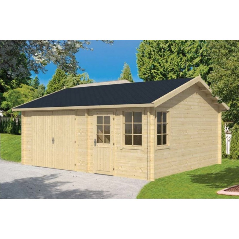 garage abri voiture en kit bois moa avec remise 30m2 fenetres. Black Bedroom Furniture Sets. Home Design Ideas