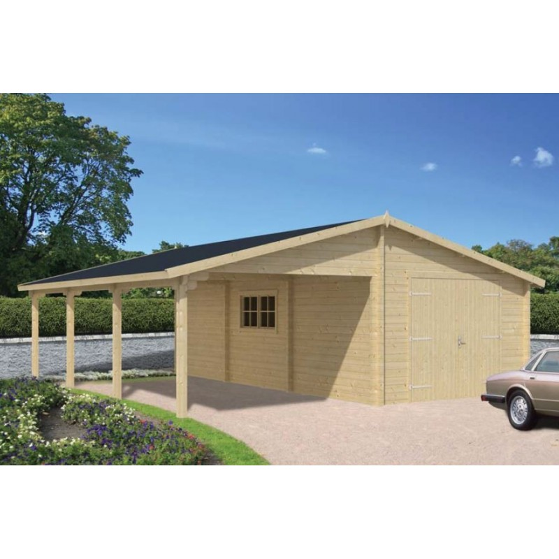 garage double carport abri voiture en bois sapin de 70mm promo. Black Bedroom Furniture Sets. Home Design Ideas
