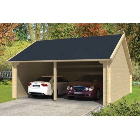 Garage abri voiture en kit bois moa avec remise 30m2 fenetres for Garage bois kit