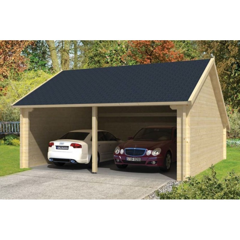 garage double carport double kit bois annexe nysse 36m2 madrier 70mm. Black Bedroom Furniture Sets. Home Design Ideas
