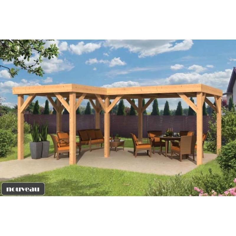 kiosque pavillon de jardin bois meleze douglas BEERZE en kit 32m2