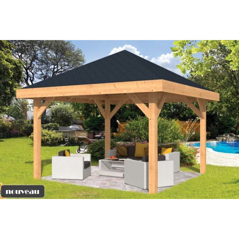pavillon kiosque salon de jardin bois meleze douglas kit obdam 18m2. Black Bedroom Furniture Sets. Home Design Ideas
