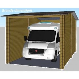 garage en bois pour camping car ou bateau 70mm 32m2 400cmx800cm. Black Bedroom Furniture Sets. Home Design Ideas