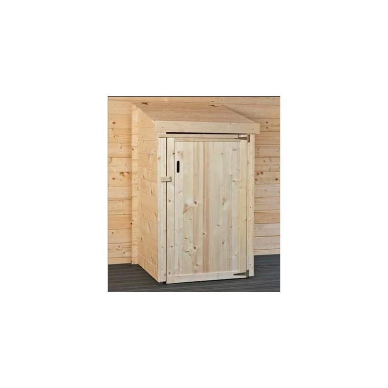 Abri cache poubelle simple en bois epaisseur 28 mm madrier - Fabriquer cache poubelle bois ...