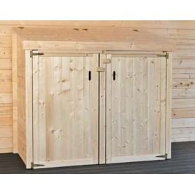 Abri cache poubelles en bois special jardin simple ou - Fabriquer cache poubelle bois ...
