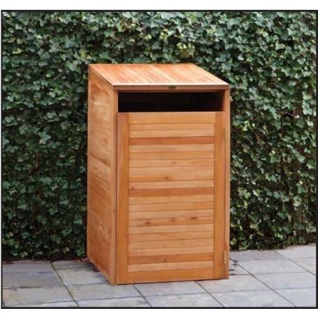 Abri cache-poubelle simple en bois dur