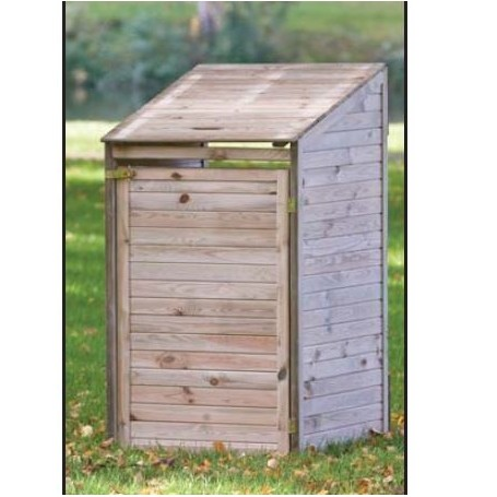 Abri cache-poubelles simple en bois