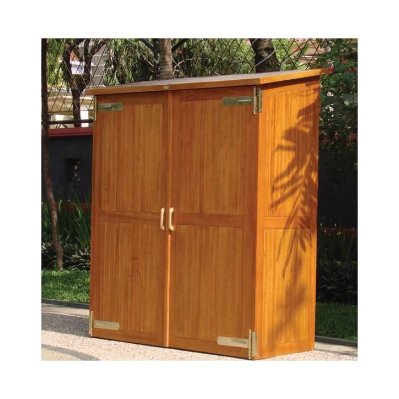 armoire de jardin double en bois dur montevideo impregne huile. Black Bedroom Furniture Sets. Home Design Ideas