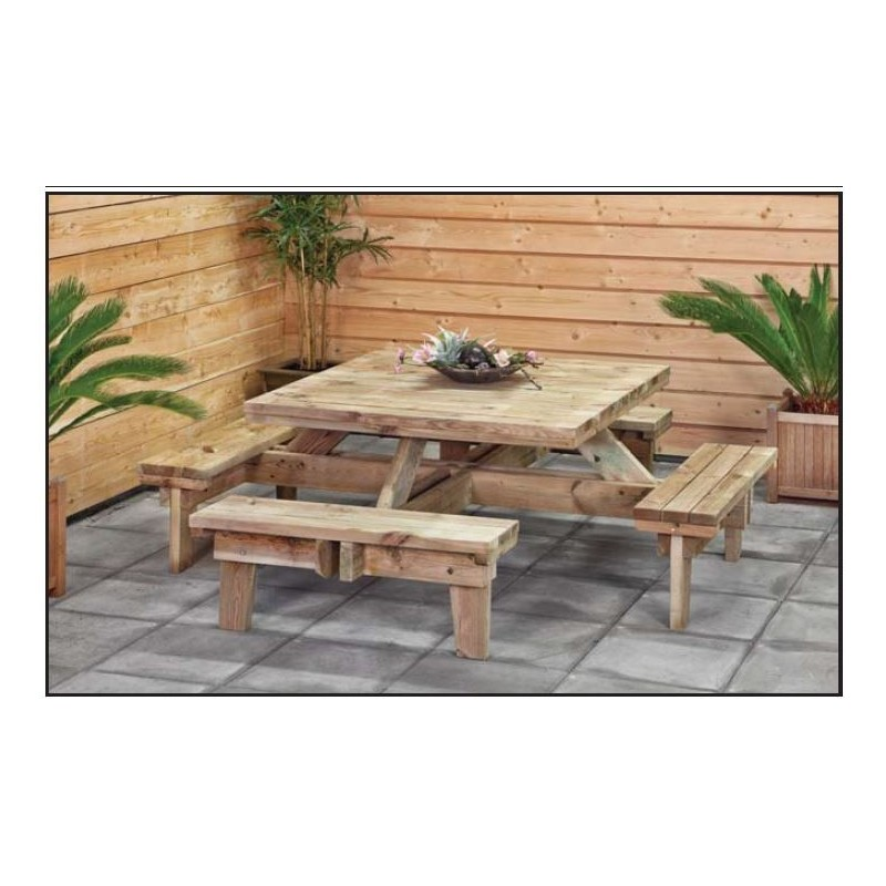 Table de picnic carr e en bois avec bancs sapin impregne for Table de jardin carree