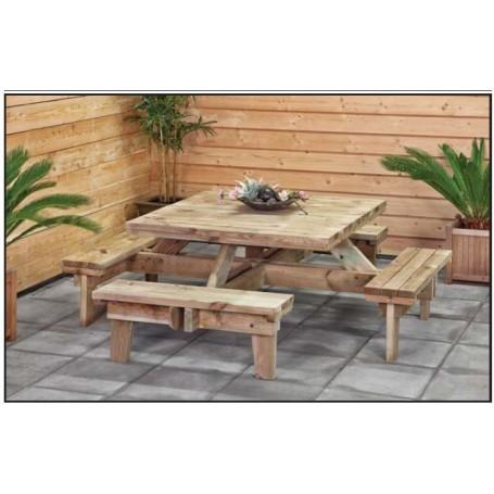 Table de pique-nique en bois carrée
