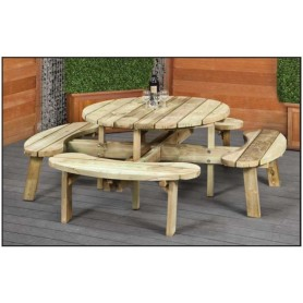 Table de picnic ronde en bois diametre 219cm