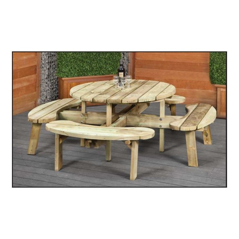 table de picnic ronde en bois avec bancs sapin impregne diametre 219cm. Black Bedroom Furniture Sets. Home Design Ideas