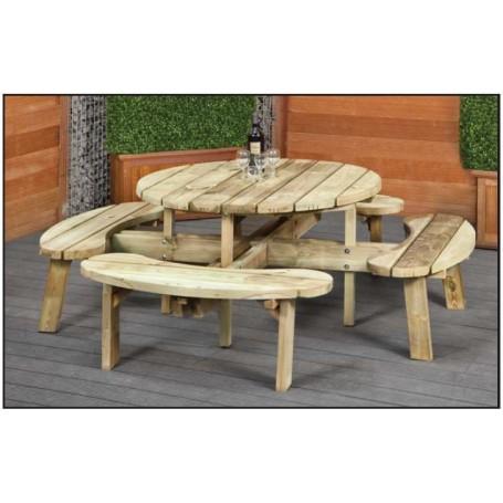 Table de pique-nique ronde en bois diametre 219cm