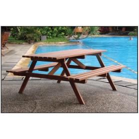 Table de picnic ECONOMIE en bois dur avec bancs intégrés