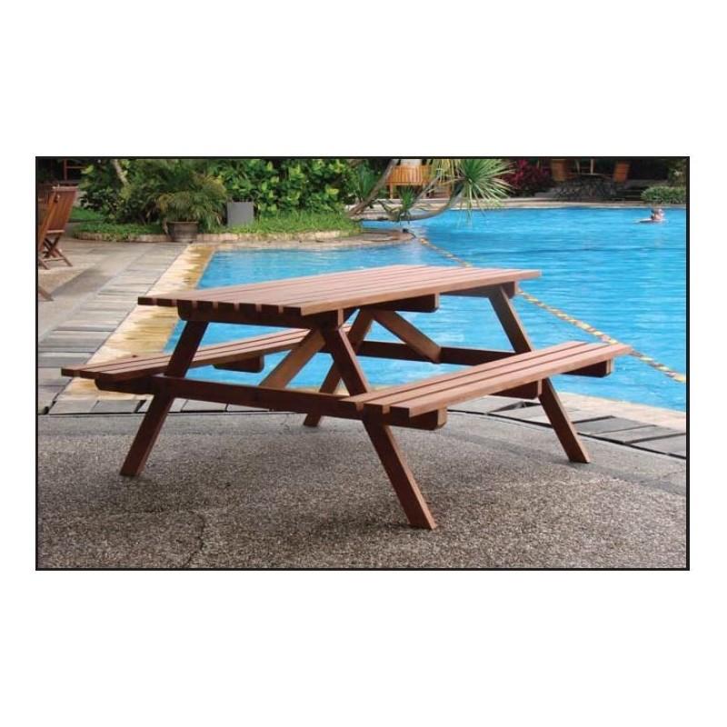 table de picnic en bois dur avec bancs integres impregne a. Black Bedroom Furniture Sets. Home Design Ideas