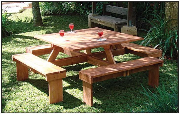 table et bancs en bois dur ideal picnic carree 210x210 pas cher