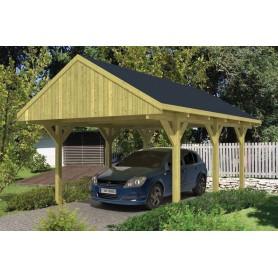 Carport bois 1 voiture à toit à bâtière