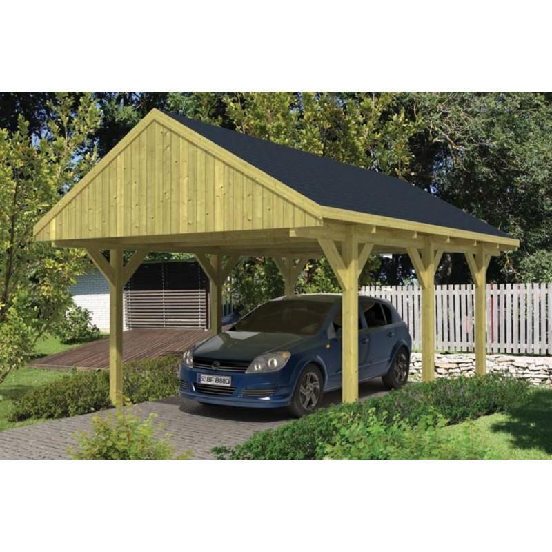 Carport bois 1 voiture à toit à bâtière TUINDECO