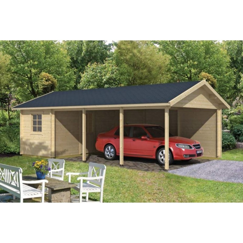 carport garage voiture en kit bois ever avec remise 33m2. Black Bedroom Furniture Sets. Home Design Ideas