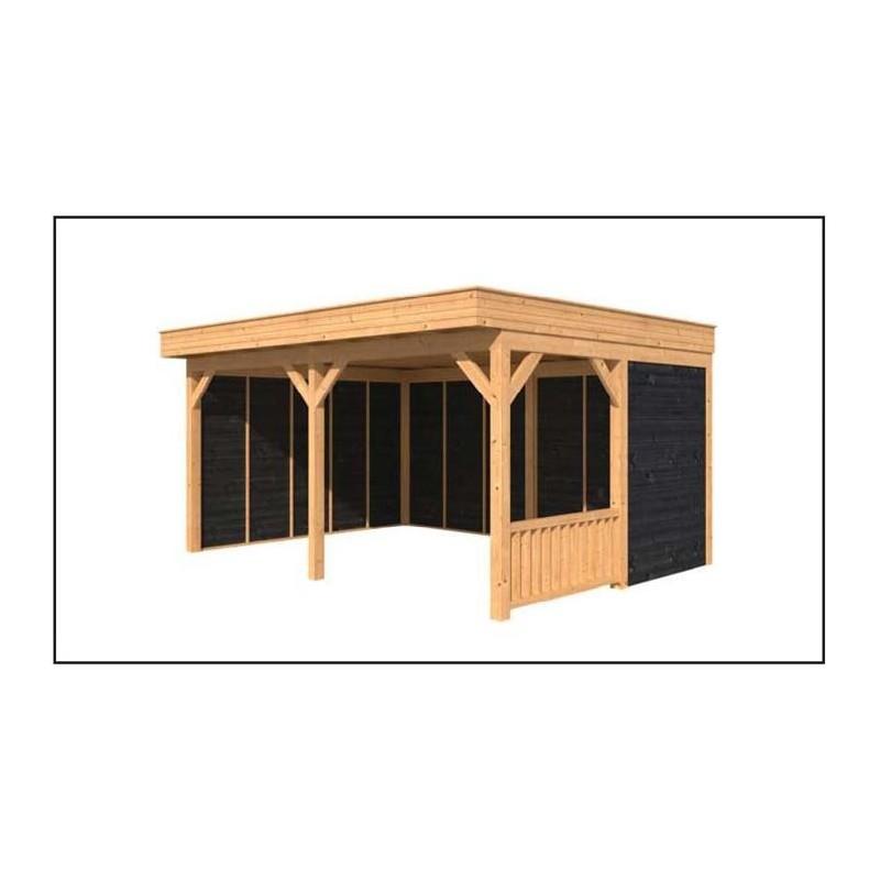 Abri de jardin toit plat 20m2 for Abri jardin bois 20m2