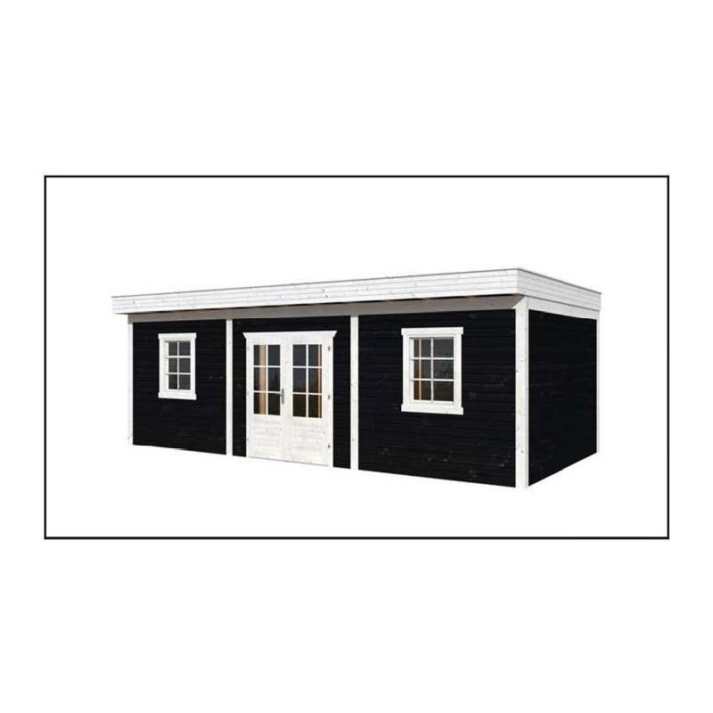 Abri chalet toit plat 30m2 en m l ze douglas avec remise garage - Abri de jardin habitable toit plat ...