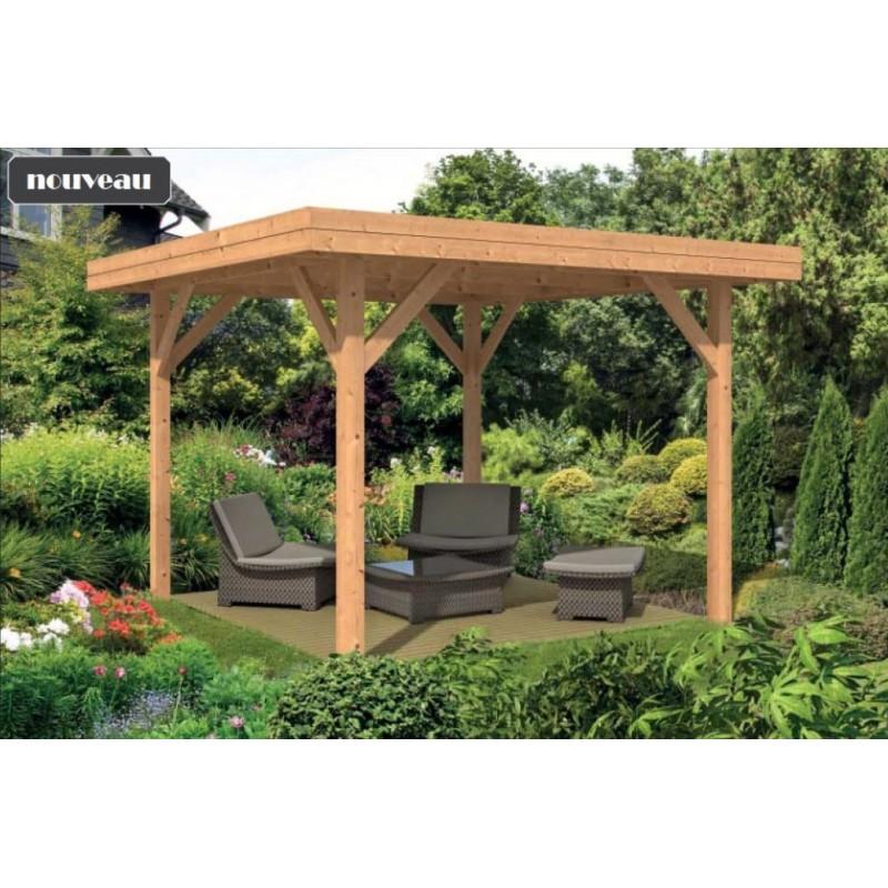 Pavillon / Kiosque de jardin en mélèze douglas abri salon de jardin et spa Kreta 13m2