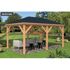 Pavillon / Kiosque de jardin Samos 14m2 bois mélèze douglas abri pour salon de jardin abri spa