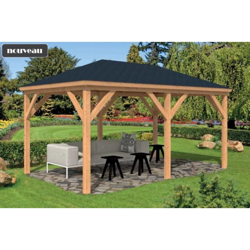 Pavillon / Kiosque de jardin Samos 14m2 bois mélèze douglas TUINDECO