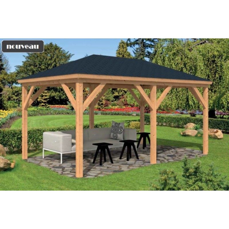 kiosque de jardin bois 14m2 m l ze douglas en promo samos. Black Bedroom Furniture Sets. Home Design Ideas