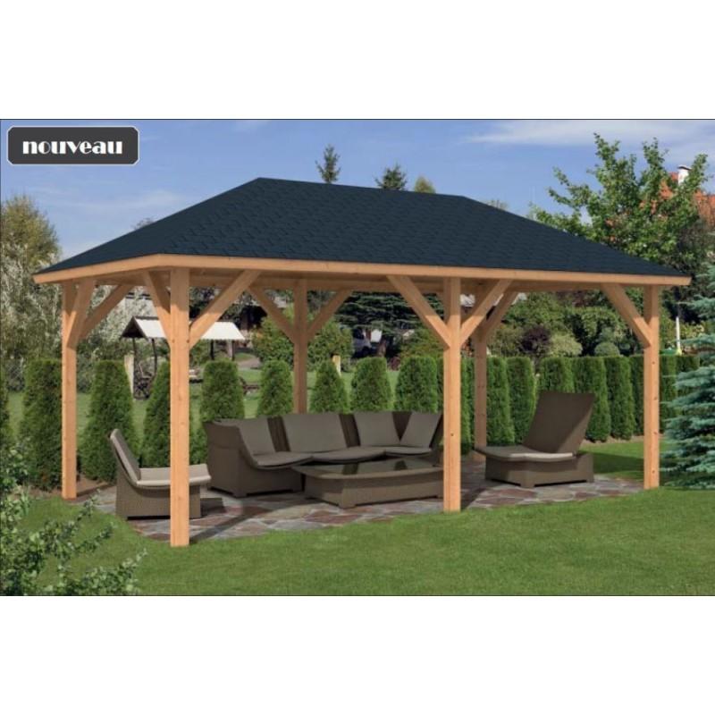 Pavillon / Kiosque de jardin Corfu 20m2 mélèze/douglas abri pour salon de jardin abri pour spa