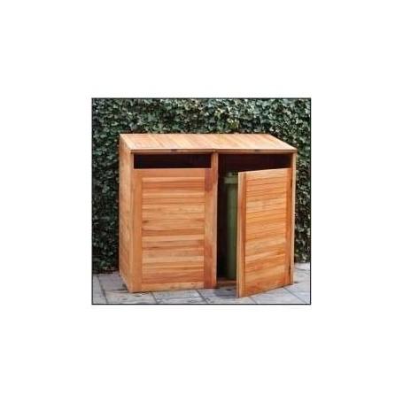 Abri cache-poubelles double en bois dur