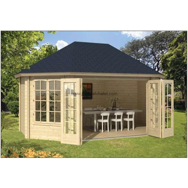 chalet bois en kit bureau de jardin gudrune bois 45mm double vitrage. Black Bedroom Furniture Sets. Home Design Ideas