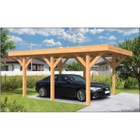 Carport voiture 350x500cm SLOTEN en Mélèze/Douglas toit plat