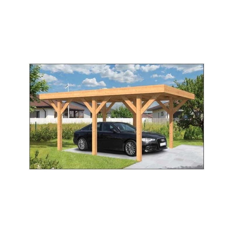 carport bois toit plat en m l ze douglas sloten garage voiture bois. Black Bedroom Furniture Sets. Home Design Ideas