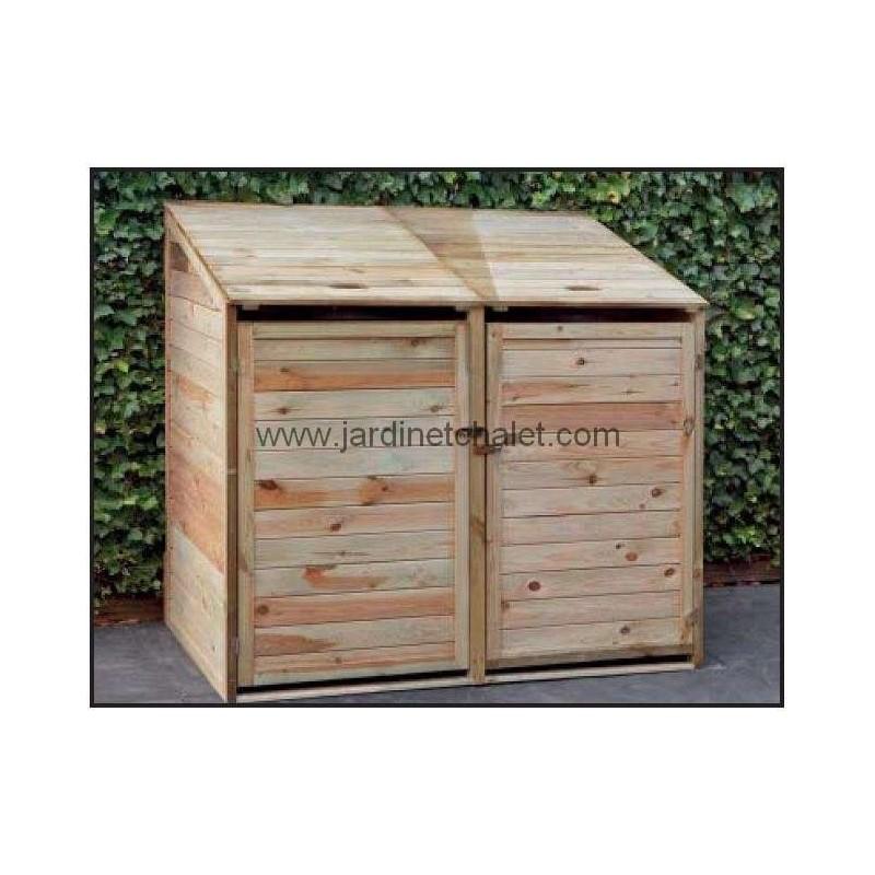 Abri cache-poubelles double en bois