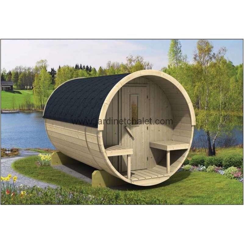 Sauna tonneau en sapin 300cm