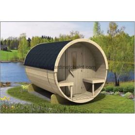 Sauna tonneau 250cm en thermowood
