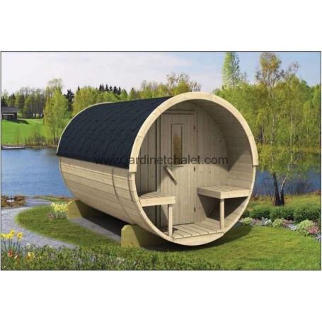 Sauna tonneau 300cm en thermowood