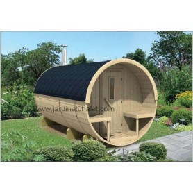 Sauna tonneau en sapin 350cm