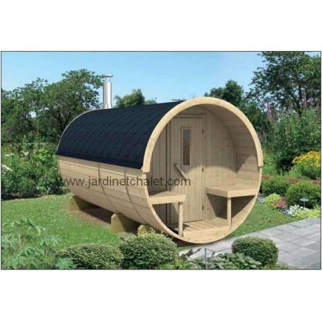 Sauna tonneau en Thermowood 350cm